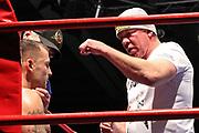 """Boxen: GBC-Fightnight, Schwergewicht, Mohamed Soltby (Hamburg) - David Gegeshhodze (Georgien), Hamburg, 31.10.2015<br /> Trainer Graciano """"Rocky"""" Rocchigiani<br /> © Torsten Helmke"""