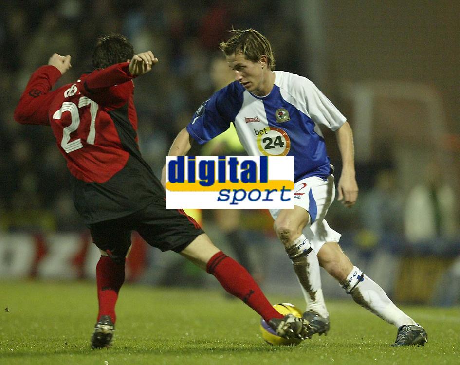 Photo: Aidan Ellis.<br /> Blackburn Rovers v Bayer Leverkusen. UEFA Cup, 2nd Leg. 22/02/2007.<br /> Rover's Morten Gamst Pedersen takes on Bayer's Gonzalo Castro