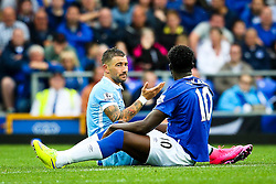 Aleksandar Kolarov of Manchester City gestures to Everton's Romelu Lukaku  - Mandatory byline: Matt McNulty/JMP - 07966386802 - 23/08/2015 - FOOTBALL - Goodison Park -Everton,England - Everton v Manchester City - Barclays Premier League
