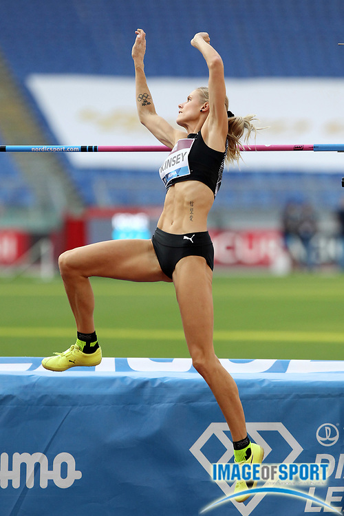 Erika Kinsey (SWE) places fourth in the women's high jump at 6-4¾ during the Mennea Golden Gala at Stadio Olimpico, Thursday, Sept. 17, 2020, in Rome. (Jiro Mochizuki/Image of Sport)