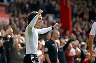 Brentford midfielder Jota (23) celebrates his goal (score 3-1) during the EFL Sky Bet Championship match between Brentford and Queens Park Rangers at Griffin Park, London, England on 22 April 2017. Photo by Andy Walter.
