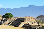 Building P, also called 'El Piramide,' in the ancient Zapotec city of Monte Alban, Oaxaca, Mexico.