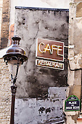 Cafe sign and lamp post, Paris, France