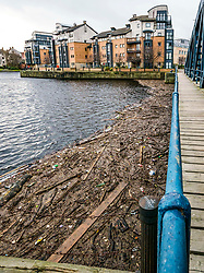 Leith, Edinburgh, Scotland, United Kingdom, 05 December 2019, Water of Leith rubbish: Despite a clear up in July by Edinburgh City Council, a huge pile of rubbish has collected again at the boom next to the historic iron swing bridge, Victoria Bridge, and its now smelling bad. There has been controversy about who is responsible for clearing this rubbish with 'Water of Leith 2000' who is responsible for managing the basin reportedly not helping to support efforts to resolve the issue.<br /> Sally Anderson / EdinburghElitemedia / Edinburgh Elite Media