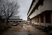 Ishinomaki  MinatoDaini shogako Junior High School - Takahashi-KOHICHI  mars 2012.Le collège MinatoDani Shogako est fermé de puis le 11 mars 2011. Ce jour là, les enfants se sont réfugiés sur les toits et au 4ème étage. Mais 3 dentres eux ne purent séchapper. .Les salles de classe des niveaux supérieurs sont restés telles quelles depuis lannée dernière, au rez de chaussé plus rien ne subsiste. .Takahashi KOHICHI nettoie aujourdhui les façades  et les parterres de plante pour que des enfants, début avril 2012, viennent peindre une grande fresque et planter des fleurs.