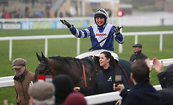 Bryony Frost celebrates her victory on Frodon in the BetBright Trial Cotswold Chase during Festival Trials Day at Cheltenham Racecourse.