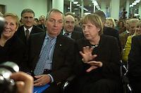"""12 JAN 2004, BERLIN/GERMANY:<br /> Klaus Toepfer (L), CDU, Exekutivdirektor des Umweltprogramms der Vereinten Nationen, UNEP, und Bundesumweltminister a.D., und Angela Merkel (R), CDU Bundesvorsitzende, vor Beginn einer Diskussionsveranstaltung der CDU aus der Reihe """"Berliner Gespraeche"""" zum Thema """"Nach uns die Sintflut - Wohlstand auf Kosten der Zukunft?"""", Konrad-Adenauer-Haus<br /> IMAGE: 20040112-03-004<br /> KEYWORDS: Klaus Töpfer"""