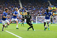 Ngolo Kante of Chelsea sees his shot at goal blocked by Idrissa Gueye of Everton. Premier league match, Everton v Chelsea at Goodison Park in Liverpool, Merseyside on Sunday 30th April 2017.<br /> pic by Chris Stading, Andrew Orchard sports photography.
