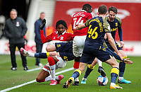 Middlesbrough's Djed Spence grapples with Stoke City's Jack Clarke<br /> <br /> Photographer Alex Dodd/CameraSport<br /> <br /> The EFL Sky Bet Championship - Middlesbrough v Stoke City - Saturday 13th March 2021 - Riverside Stadium - Middlesbrough<br /> <br /> World Copyright © 2021 CameraSport. All rights reserved. 43 Linden Ave. Countesthorpe. Leicester. England. LE8 5PG - Tel: +44 (0) 116 277 4147 - admin@camerasport.com - www.camerasport.com