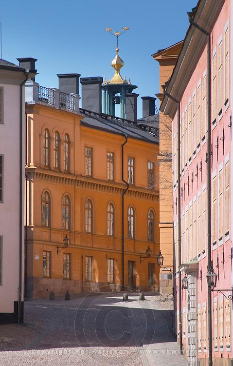 Cobble stone street with old houses on Riddarholmen. Stockholm. Sweden, Europe.