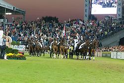 Team Netherlands, Timmerman Theo, De Ronde Koos, Chardon IJsbrand<br /> Driving competition Prizegiving<br /> European Championships - Aachen 2015<br /> © Hippo Foto - Dirk Caremans<br /> 22/08/15