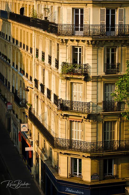 Morning light on apartments in the Latin Quarter, Paris, France