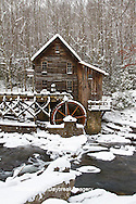 67395-04113 Glade Creek Grist Mill in winter, Babcock State Park, WV