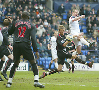 Photo: Aidan Ellis.<br /> Bolton Wanderers v Sunderland. The Barclays Premiership. 18/03/2006.<br /> Bolton's Kevin Nolan jumps to score the second goal