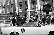 The astronauts of Apollo XIII visit Ireland as part of a European tour. James Lovell, John Swigert and Fred Haise were on a planned landing on the lunar surface, when, two days after blast-off on 11 April 1970, there was an explosion aboard the craft. Demonstrating extraordinary skill and courage, the crew managed to make emergency repairs to enable them to pilot their damaged craft back to Earth on 17th April. In car (l-R): Haise, Lovell and Swigert.<br /> 13/10/1970