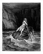 Charon the Ferryman crossing the River Achero From the Divine Comedy by 14th century Italian poet Dante Alighieri. 1860 artwork, by French artist Gustave Dore and engraved by Stephane Pannemaker, from 'The Vision of Hell' (1868), Cary's English translation of the Inferno. Dante wrote his epic poem 'Divina Commedia' (The Divine Comedy) between 1308 and his death in 1321. Consisting of 14,233 lines, and divided into three parts (Inferno, Purgatorio, and Paradiso), it is considered the greatest literary work in the Italian language and a world masterpiece. It is a comprehensive survey of medieval theology, literature and thought. The new non-dialect poetic language Dante created became the basis of modern Italian.