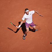 PARIS, FRANCE June 13.   Stefanos Tsitsipas of Greece in action during his match against Novak Djokovic of Serbia on Court Philippe-Chatrier during the Men's Singles Final at the 2021 French Open Tennis Tournament at Roland Garros on June 13th 2021 in Paris, France. (Photo by Tim Clayton/Corbis via Getty Images)