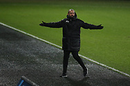 Nuno Espirito Santo, the Wolverhampton Wanderers manager reacts on the touchline during the Emirates FA Cup, 3rd round replay match, Swansea city v Wolverhampton Wanderers at the Liberty Stadium in Swansea, South Wales on Wednesday 17th January 2018.<br /> pic by  Andrew Orchard, Andrew Orchard sports photography.