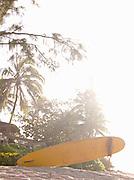 Surfboard on a beach in O'Ahu, Hawai?i