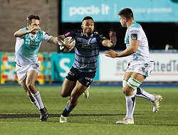 Cardiff Blues' Willis Halaholo hands off Connacht's Dave Heffernan<br /> <br /> Photographer Simon King/Replay Images<br /> <br /> Guinness Pro14 Round 9 - Cardiff Blues v Connacht Rugby - Friday 24th November 2017 - Cardiff Arms Park - Cardiff<br /> <br /> World Copyright © 2017 Replay Images. All rights reserved. info@replayimages.co.uk - www.replayimages.co.uk