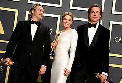 Jacquin Phoenix, winner of the Best Actor, Renee Zelleweger, winner of Best Actress and Brad Pitt, winner of Best Supporting Actor in the press room at the 92nd Academy Awards held at the Dolby Theatre in Hollywood, Los Angeles, USA.