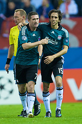 MADRID, SPAIN - Wednesday, October 22, 2008: Liverpool's Robbie Keane celebrates scoring the opening goal against Club Atletico de Madrid with team-mate Yossi Benayoun during the UEFA Champions League Group D match at the Vicente Calderon. (Photo by David Rawcliffe/Propaganda)