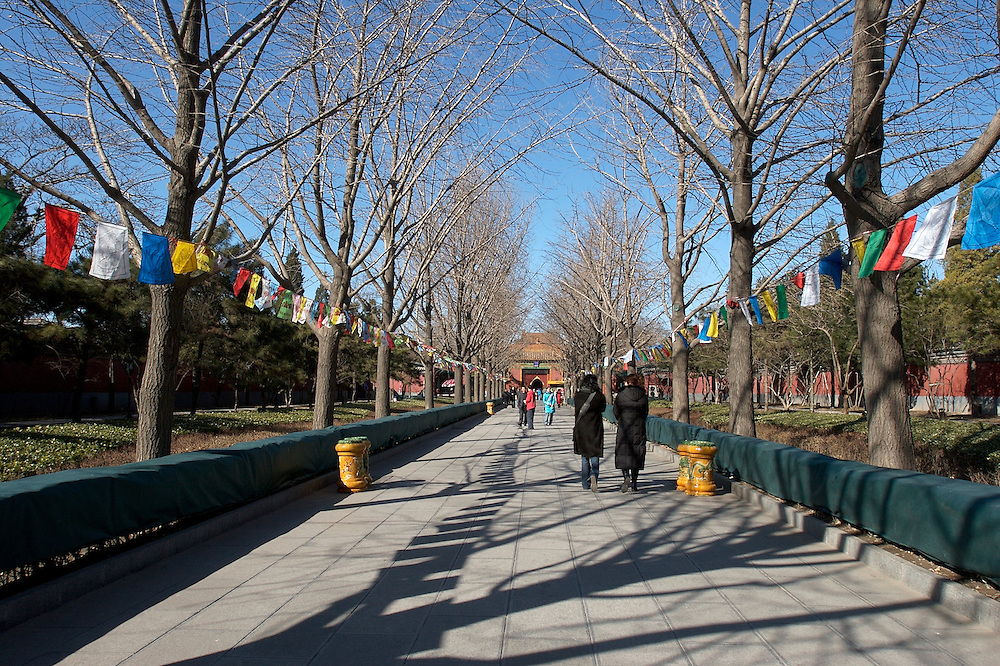 The long walkway leading to the entrace of Yonghegong, a Lama Temple in northern part of Beijing, China.