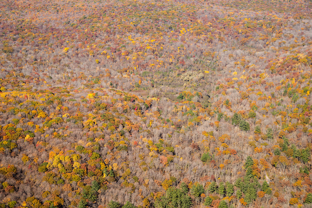 Aerial view of the Baraboo Hills, Sauk County, Wisconsin; specifically, Baxter Hollow State Natural area fills the frame.