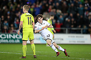 Daniel James of Swansea city celebrates after he scores his teams 8th goal. The Emirates FA Cup, 4th round replay match, Swansea city v Notts County at the Liberty Stadium in Swansea, South Wales on Tuesday 6th February 2018.<br /> pic by  Andrew Orchard, Andrew Orchard sports photography.