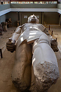 Colossus of Rameses II in the open air Mit Rahina Museum, Al Badrashin, Giza Governate, Egypt.