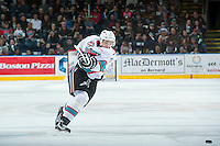 KELOWNA, CANADA - MARCH 26: Gordie Ballhorn #4 of Kelowna Rockets takes a shot on net from the point against the Kamloops Blazers on March 26, 2016 at Prospera Place in Kelowna, British Columbia, Canada.  (Photo by Marissa Baecker/Shoot the Breeze)  *** Local Caption *** Gordie Ballhorn;
