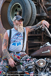 Tattoo artist Steve Ricketts at the Full Throttle Saloon during the annual Sturgis Black Hills Motorcycle Rally. Sturgis, SD. USA. Friday August 11, 2017. Photography ©2017 Michael Lichter.