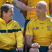 Australian coach Robbie Deans, (left) and Nathan Sharpe who will be playing in his 100th test match on Friday night during the Australian team's official photograph before the Captain's run at Eden Park in preparation for the third against fourth play off match with Wales at the IRB Rugby World Cup tournament, Auckland, New Zealand. 20th October 2011. Photo Tim Clayton...