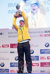 20.02.2016, Altstadt, Innsbruck, AUT, FIBT WM, Bob und Skeleton, Damen, Skeleton, Siegerehrung, im Bild Tina Hermann (GER, Goldmedaille) // Gold medalist and Worldchampion Tina Hermann of Germany celebrates on Podium during award winner ceremony for the women Skeleton of FIBT Bobsleigh and Skeleton World Championships at the Altstadt in Innsbruck, Austria on 2016/02/20. EXPA Pictures © 2016, PhotoCredit: EXPA/ Johann Groder