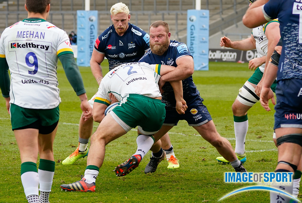 London Irish Hooker Agustín Creevy is tackled by Sale Sharks hooker Akker Van Der Merwe during a Gallagher Premiership Round 14 Rugby Union match, Sunday, Mar 21, 2021, in Eccles, United Kingdom. (Steve Flynn/Image of Sport)