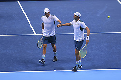 November 13, 2017 - London, United Kingdom - Bob and Mike Bryan of the United States celebrate in the Doubles match against Jamie Murray of Great Britain and Bruno Soares of Brazil during day two of the Nitto ATP World Tour Finals at O2 Arena, London on November 13, 2017. (Credit Image: © Alberto Pezzali/NurPhoto via ZUMA Press)