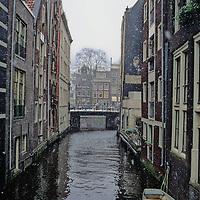 Europe, The Netherlands, Amsterdam. Amsterdam in winter snow.