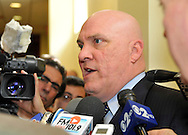 Dec. 17, 2013 - Mineola, New York, U.S.-  JAMES CARVER, who recently won a third term as President of the Nassau County Police Benevolent Association, is with department officials at Tuesday's news conference at PBA headquarters in Mineola, urging County Executive Mangano to promote a new commissioner from within the department, and vows to appeal decision by judge to keep disciplinary power with commissioner rather than outside arbitrators. On Dec. 14, the day after forcing out Commissioner Dale, Mangano said he plans to hire from outside a replacement who's a disciplinarian like Dale. PICTURED:  March 5, 2012 - Mineola, New York, U.S. - Event when Nassau County Legislature votes to confirm Thomas Dale as Police Commissioner and to consolidate 8 police precincts into 4. Nassau PBA President James Carver spoke against closing precincts.