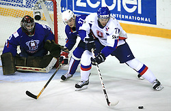 Robert Kristan, Miha Rebolj of Slovenia and Andrej Kollar of Slovakia at ice-hockey game Slovenia vs Slovakia at Relegation  Round (group G) of IIHF WC 2008 in Halifax, on May 09, 2008 in Metro Center, Halifax, Nova Scotia, Canada. Slovakia won 5:1. (Photo by Vid Ponikvar / Sportal Images)