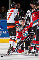 KELOWNA, CANADA - NOVEMBER 5: Kole Lind #16 of the Kelowna Rockets gets up after a check to the ice against the Medicine Hat Tigers  on November 5, 2016 at Prospera Place in Kelowna, British Columbia, Canada.  (Photo by Marissa Baecker/Shoot the Breeze)  *** Local Caption ***