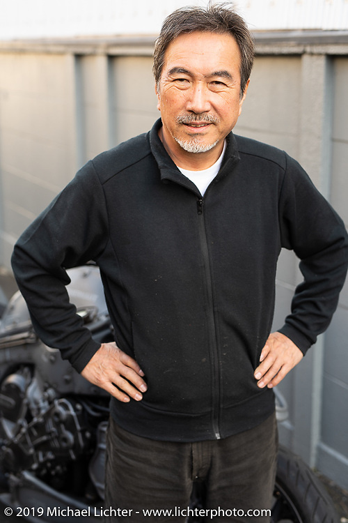 Custom bike builder Keiji Kawakita with his Juggernaut BMW GL 1600 at his Hot Dock Customs in Tokyo during out Mooneyes Japan tour. Friday, November 30, 2018. Photography ©2018 Michael Lichter.
