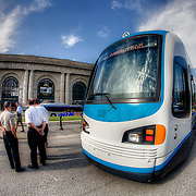 A demonstration of a modern streetcar proposal for downtown Kansas City held on Pershing in front of Union Station on August 23, 2011.
