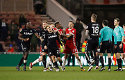 Players separate Leeds United midfielder Samu Saiz and Muhamed Bešić of Middlesbrough after an incident at full time during the EFL Sky Bet Championship match between Middlesbrough and Leeds United at the Riverside Stadium, Middlesbrough, England on 2 March 2018. Picture by Paul Thompson.