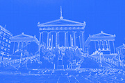 Digitally enhanced image of the Exterior of the National Library of Greece, part of the architectural trilogy designed by Danish architect Theopil Hansen, Athens, Greece
