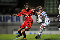 FOOTBALL - FRENCH CHAMPIONSHIP 2010/2011 - L2 - LE MANS FC v US BOULOGNE - 10/09/2010 - PHOTO JEAN MARIE HERVIO / DPPI - JONATHAN BEHE (LMFC) / ANTHONY LECOINTE (USB)