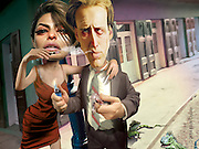The Bad Lieutenant with Nicolas Cage and Eva Mendes. 3D modeling and Photoshop for Penthouse Full Frontal Entertainment Review.