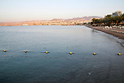 Israel, Eilat Beach, Hotels in the background