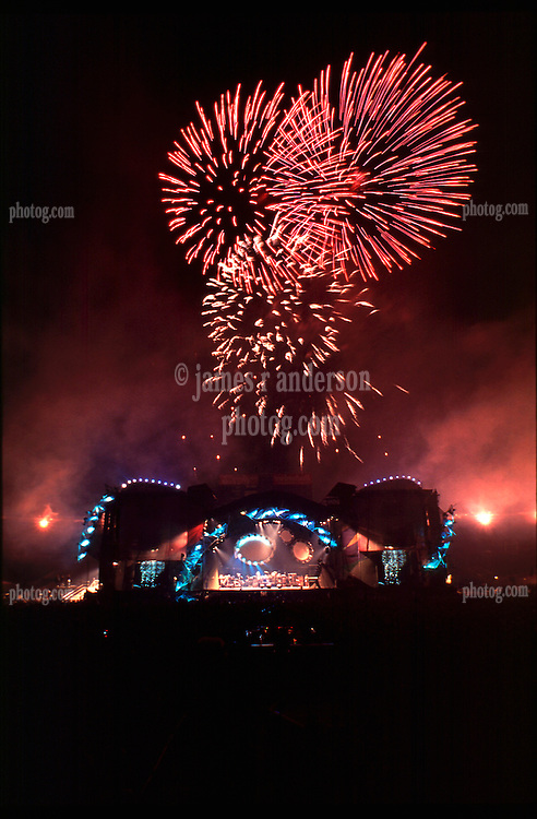 The Fireworks Finale, Stage and Lights. The Grateful Dead Live at Soldiers Field Chicago. The last show ever performed by the band on July 9, 1995. Stage lighting and set design by Candace Brightman. Photographed from the lighting booth for Ms. Brightman and The Grateful Dead.
