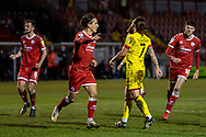 GOAL 1-1 Crawley Town forward Tom Nichols (#16) scores from the spot and celebrates in the EFL Sky Bet League 2 match between Crawley Town and Walsall at The People's Pension Stadium, Crawley, England on 16 March 2021.