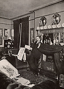 Arthur Morrison (1863-1945) English 'realist' novelist who based his plots on life in the East End of London, at home in his home at Loughton, Essex, c1902.  Later in life he studied and collected oriental art.